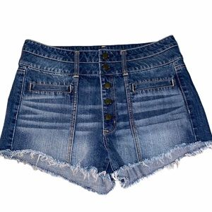 AE High Rise Vintage Wash Button Fly Frayed Shorts